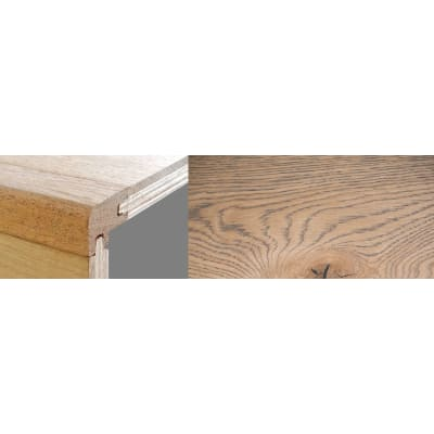 Frozen Umber Stained 15mm Oak Stair Nosing Profile Soild Hardwood 2.7m