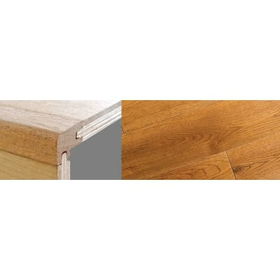 Golden Rustic Stained 18mm Oak Stair Nosing Profile Soild Hardwood 2.7m