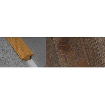 Dark Grey Stained Wood to Carpet Profile Soild Hardwood 15mm Rebate 2.7m