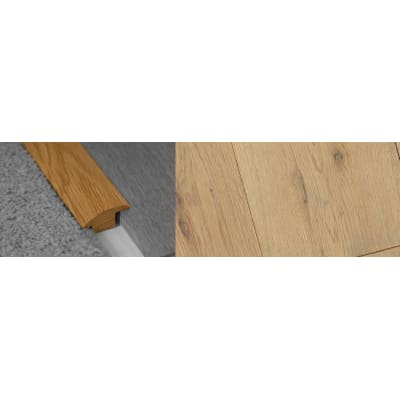 Grey Wash Stained Wood to Carpet Profile Soild Hardwood 15mm Rebate 2.7m