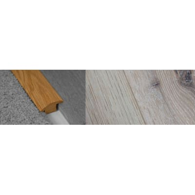 Limehouse White Stained Wood to Carpet Profile Soild Hardwood 15mm Rebate 2.7m