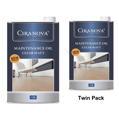 Ciranova Clear Matt Wood Flooring Maintenance Oil 1L x 2 Twin Pack