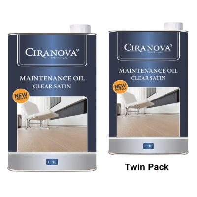 Ciranova Clear Satin Wood Flooring Maintenance Oil 1L x 2 Twin Pack