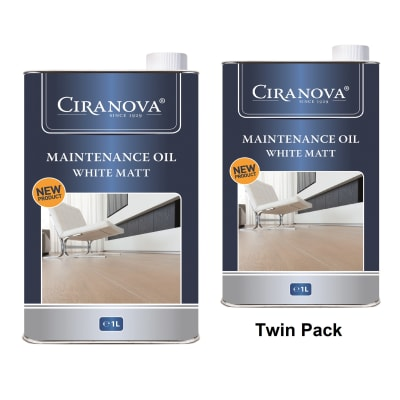 Ciranova White Matt Wood Flooring Maintenance Oil 1L x 2 Twin Pack