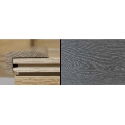 Silver Grey Stained Stair Nose Profile Solid Hardwood 2m