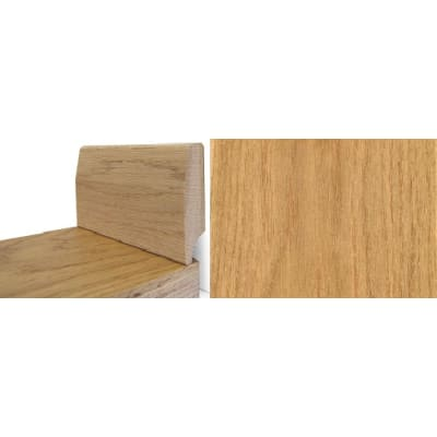 Solid Lacquered Oak Round 65mm - Wire Recess Skirting 2.4m for Flooring