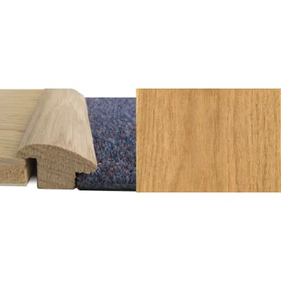 Oak Wood to Carpet Profile Soild Hardwood 15mm Rebate 0.9m