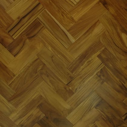 Teak Natural 230mm Parquet Block - Herringbone