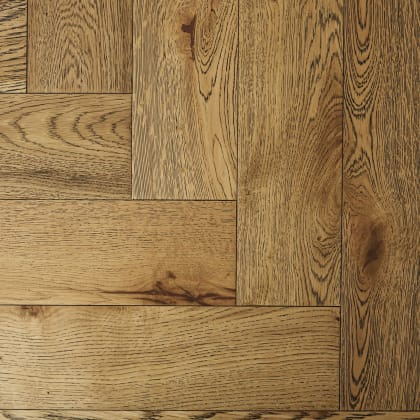 Rustic Oak Oiled Black Washed Herringbone Engineered Parquet Block