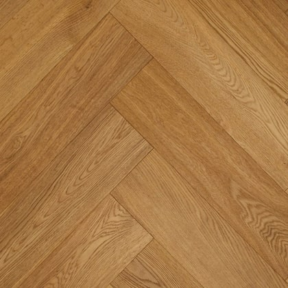 Brushed Natural Oak UV-Oiled Herringbone Engineered Parquet Block