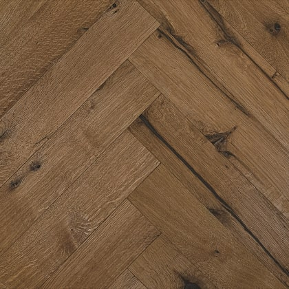 Pimlico Smoked Oak Natural Oiled Reclaimed Herringbone Engineered Hardwood Flooring