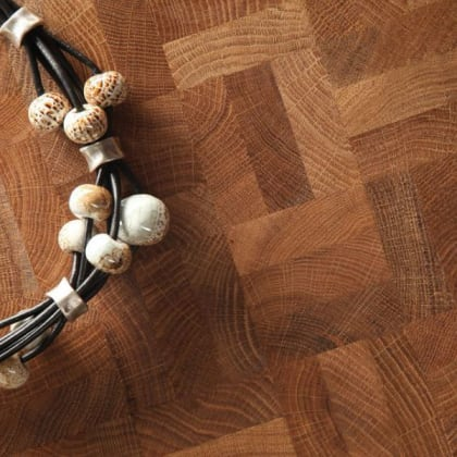 End Grain Natural Oak 3 Block Mosaic (560mm x 140mm x 18mm) Parquet Flooring
