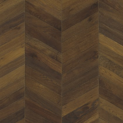 Dark Brown Oiled Oak Chevron Parquet Flooring