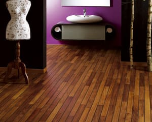 Dark navylam bathroom wood flooring