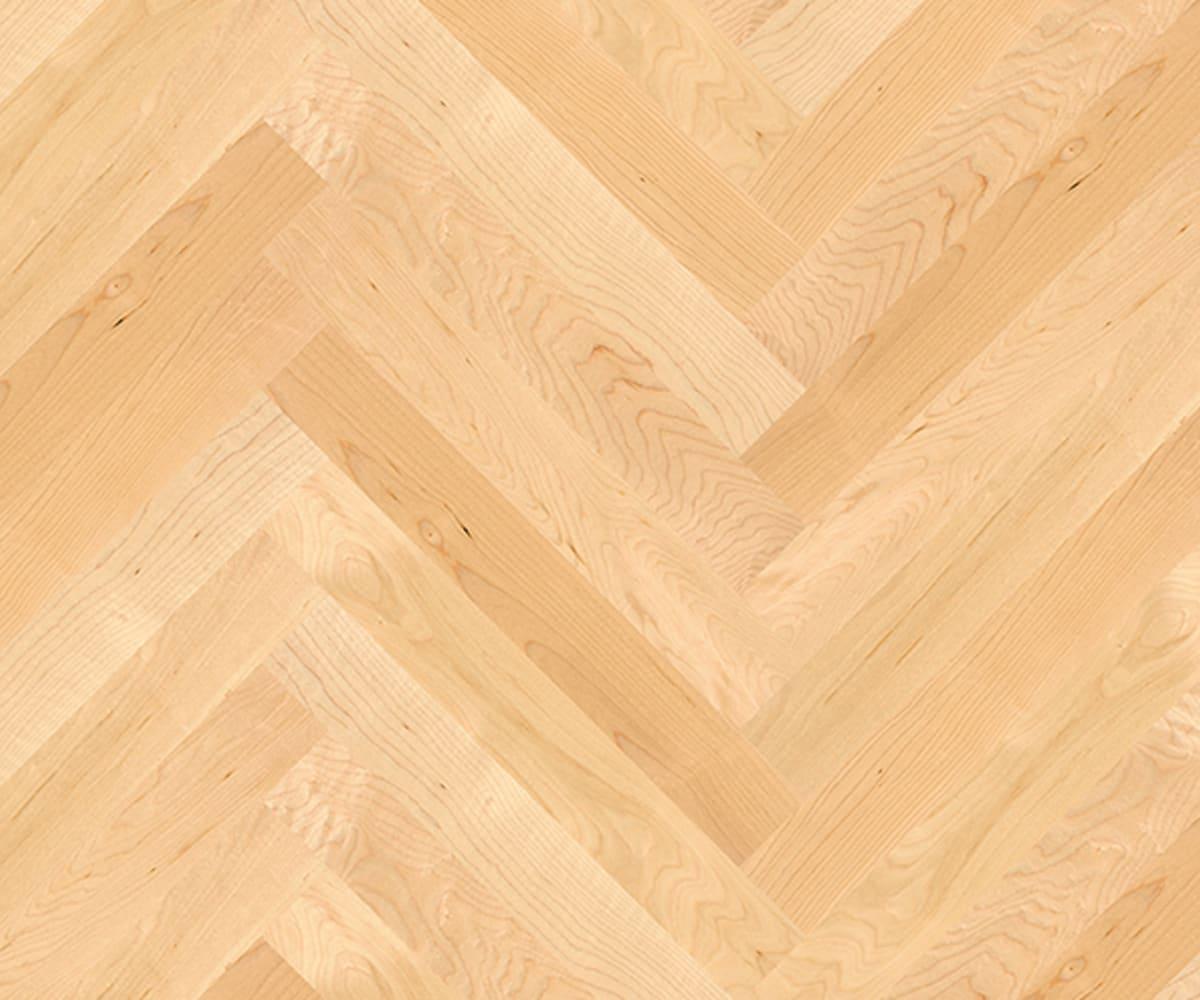 Canadian Maple Herringbone Parquet Lacquered Hardwood