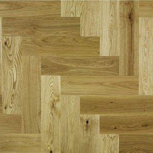 Rustic Oak 350mm Lacquered Herringbone Parquet Engineered Block