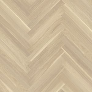 Oak Baltic White Herringbone Parquet Lacquered Hardwood Floor