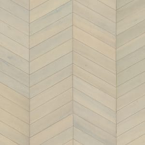 White Oiled Oak Chevron Parquet Flooring