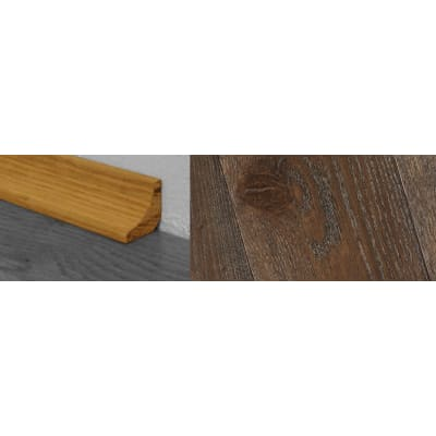 Dark Grey Stained Solid Oak Scotia 2.7m for Flooring