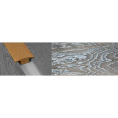 Silver Haze Stained Solid Oak T-Bar Profile Hardwood 15mm Rebate 2.7m