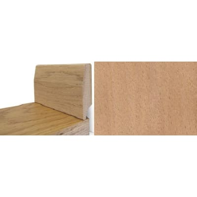 Solid Beech Round 65mm - Wire Recess Skirting 2.4m for Flooring