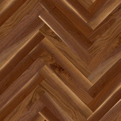 American Walnut Herringbone Parquet Lacquered Hardwood Floor