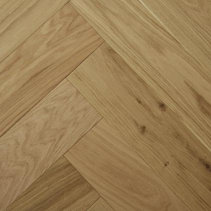 Raw Silk Natural Oak Lacquered Herringbone Engineered Parquet Block