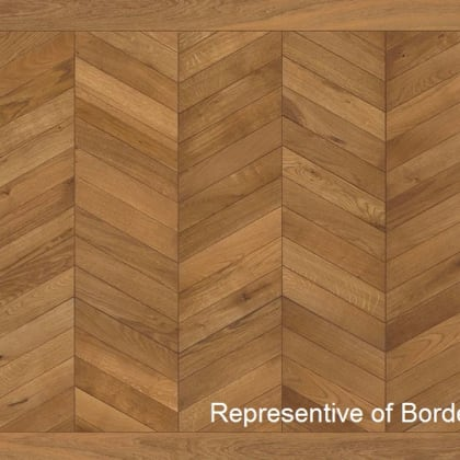 Light Brown Oiled Vintage Oak Chevron Parquet Border