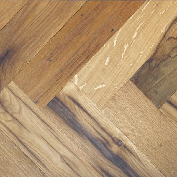 Cathedral Oak Hardwax Oiled Reclaimed Herringbone Parquet Engineered Hardwood Flooring
