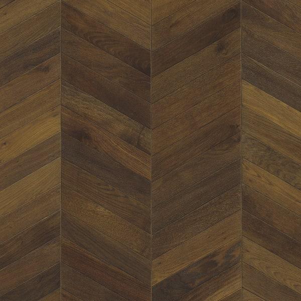 Dark Brown Oiled Oak Chevron Parquet Flooring