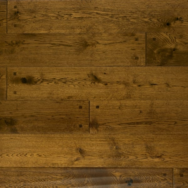Antique Stained Oak Square Peg Hand-Scraped Hardwood Solid Flooring