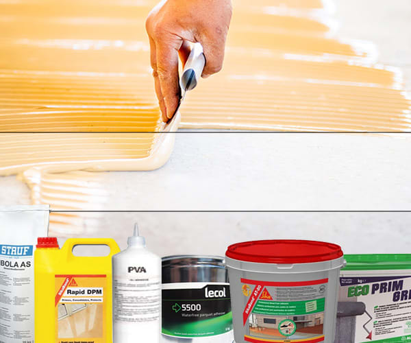 a selection of wooden floor adhesives