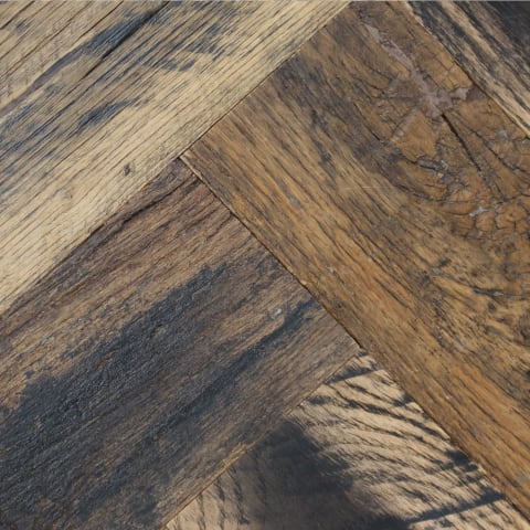 Baroque Oak Hardwax Oiled Reclaimed Herringbone Parquet Engineered Hardwood Flooring
