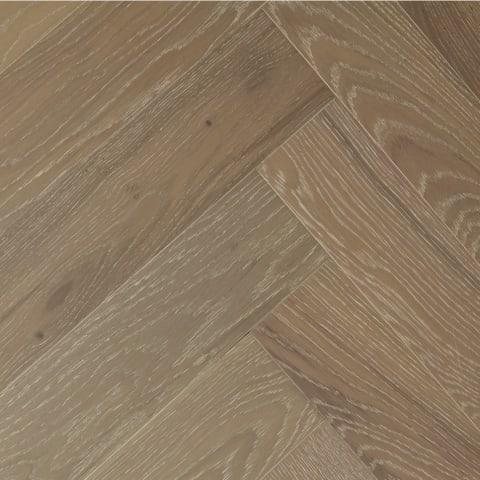 Grey Natural Oak Oiled Brushed Herringbone Engineered Parquet Block