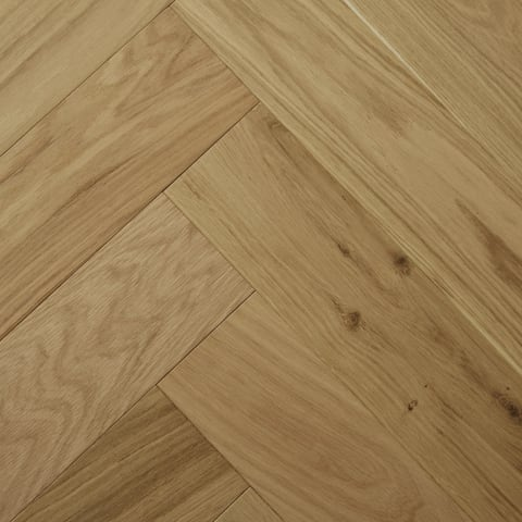 Raw Silk Natural Oak Invisible Lacquered Herringbone Engineered Parquet Block