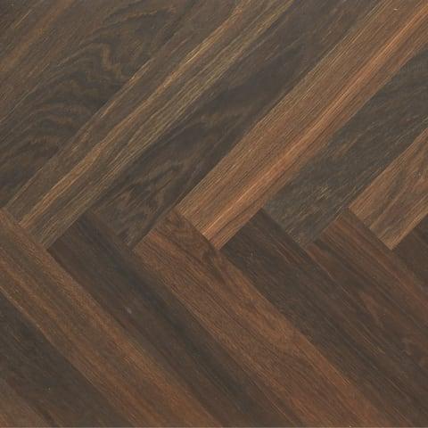 Worcester Dark Smoked Oak Herringbone Parquet Hardwood Floor