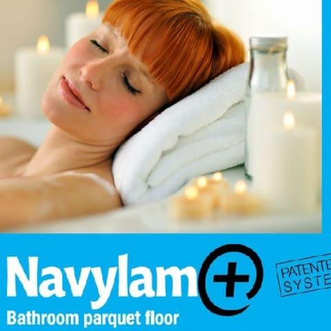 Doussie Navylam+ Parquet Bathroom Wood Flooring