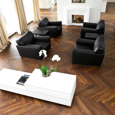 Prime Walnut 350mm Engineered Block Parquet - Herringbone