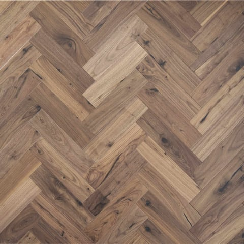 American Black Walnut UV Oiled Engineered Parquet Herringbone