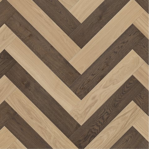 Bourges Dual Oak- Herringbone – Blonde + Old Brown - Brushed