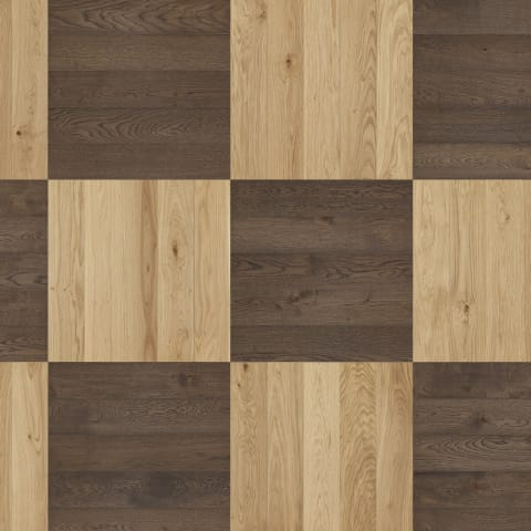 Strasbourg Chequer Mosiac Parquet – Old Brown + Oak - Brushed