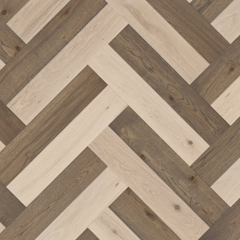Chartres Double Oak Herringbone – Old Grey + Lime - Brushed