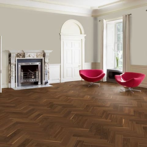 American Black Walnut Satin Lacquered Engineered Parquet Herringbone