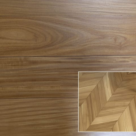 Afrormosia Prime 500mm Parquet Chevron Block