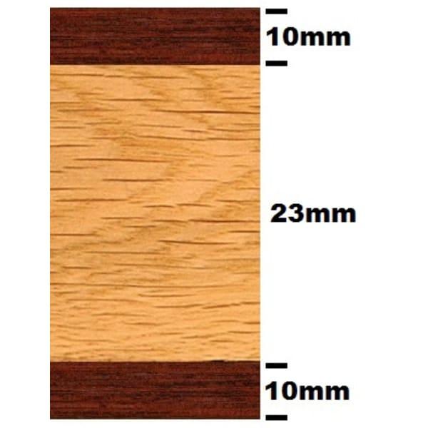 Double Wenge & Oak Parquet Solid 43mm Inset Strip