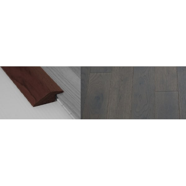 Grey Stained Solid Oak Ramp Bar Flooring Profile 18mm Rebate 2.7m