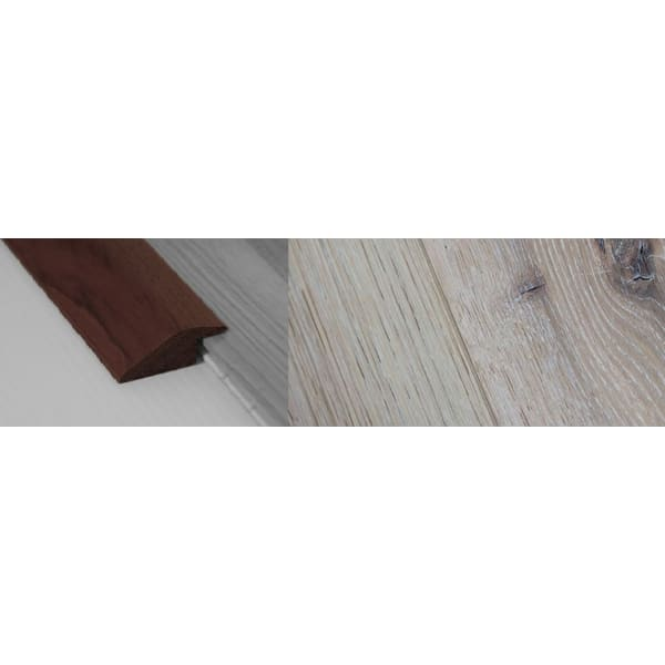 Limehouse White Stained Solid Oak Ramp Bar Flooring Profile 15mm Rebate 2.7m