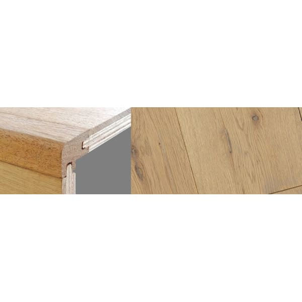 Grey Wash Stained 15mm Oak Stair Nosing Profile Soild Hardwood 2.7m
