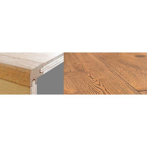 Burnt Umber Brown Stained 21mm Oak Stair Nosing Profile Soild Hardwood 2.7m