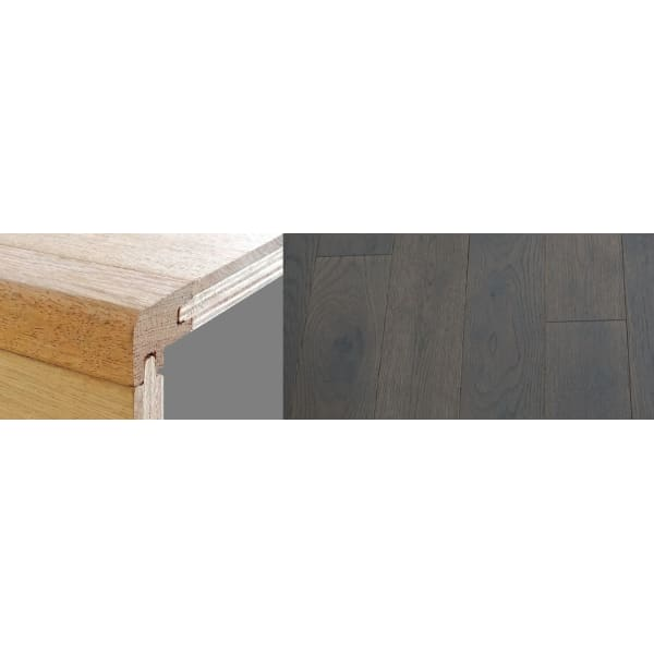 Grey Stained 18mm Oak Stair Nosing Profile Soild Hardwood 2.7m